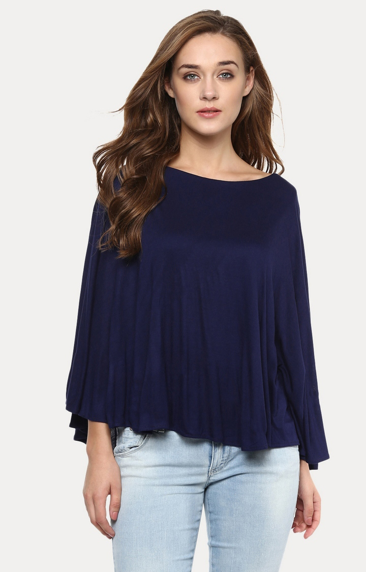 MISS CHASE   Navy Blue Solid Top