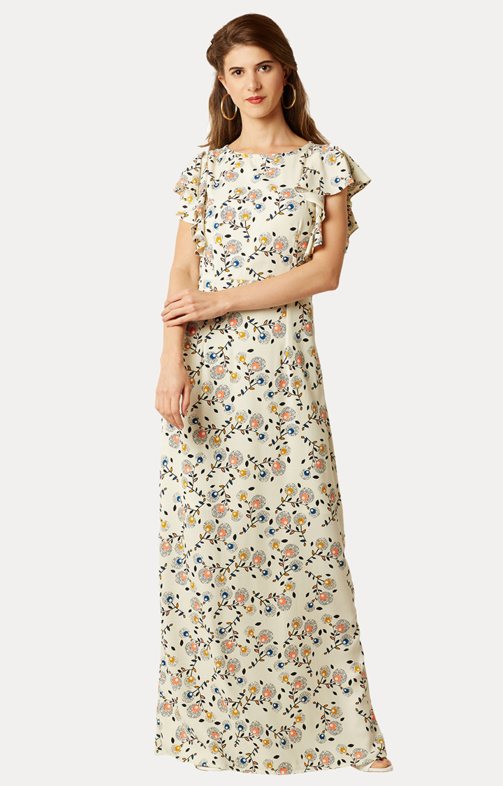 MISS CHASE | Multicoloured Round Neck Printed A-line Maxi Dress