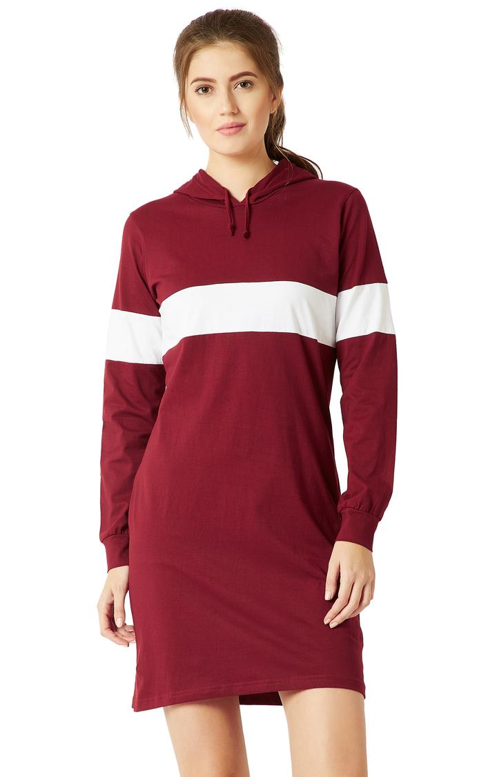 MISS CHASE | Maroon Colourblock Hooded T-Shirt Dress