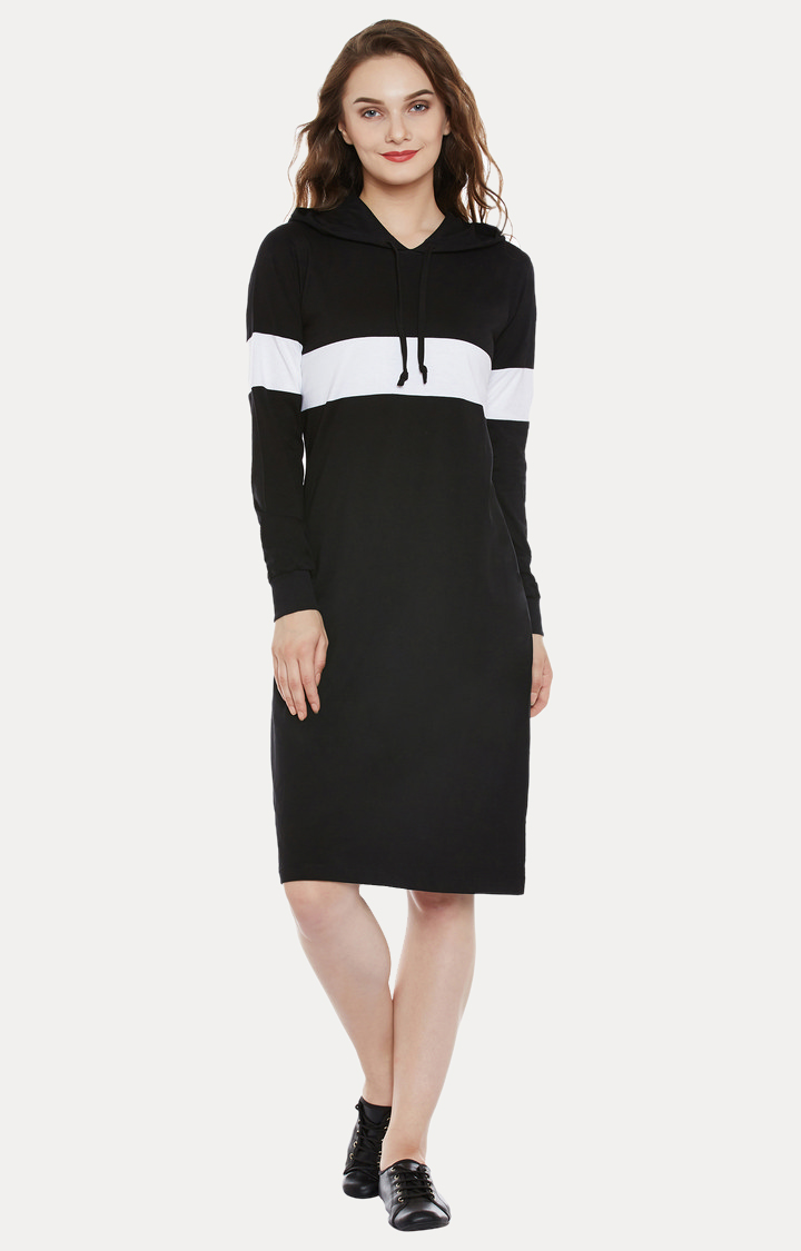 MISS CHASE | Black Solid Knee-Long Hooded Dress