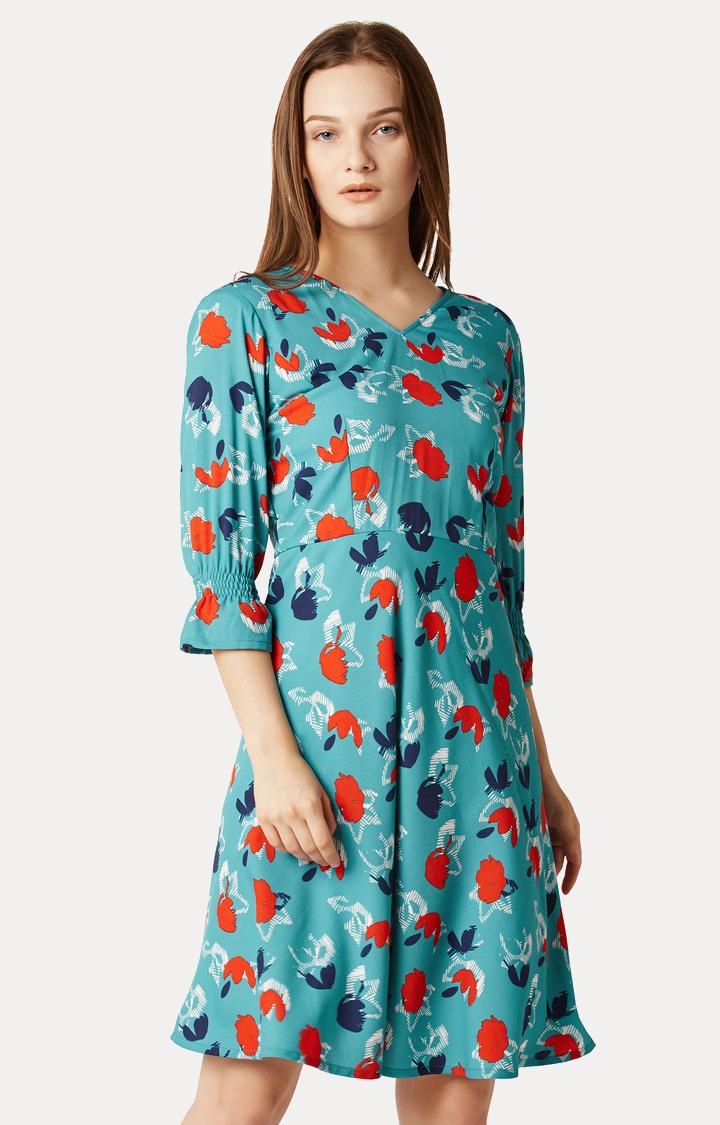 MISS CHASE | Multicoloured V-Neck Mini Ruffled Floral Skater Dress