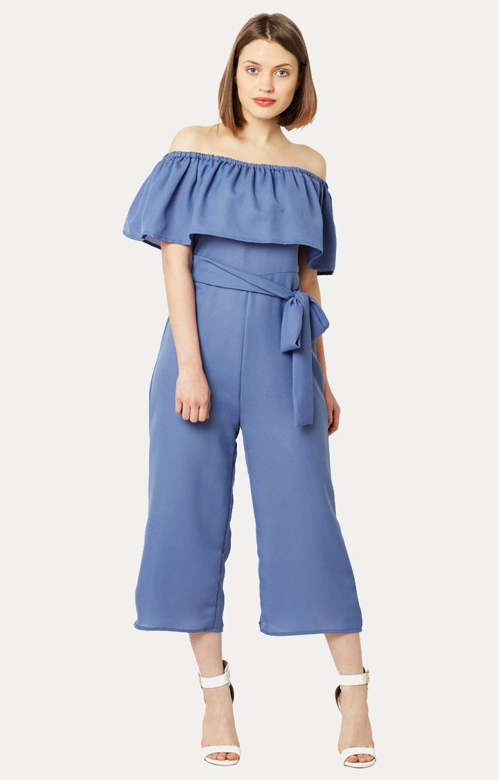 MISS CHASE | Blue Bardot Style Solid Tie-Up Ruffled Off Shoulder Midi Jumpsuit