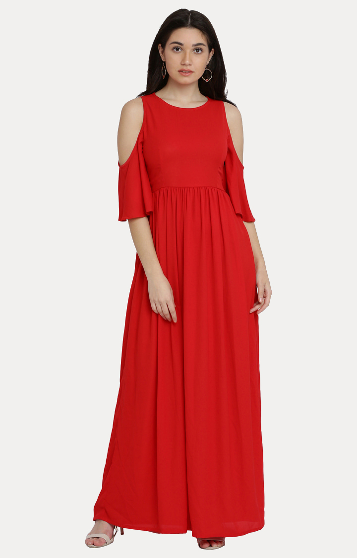 MISS CHASE | Red Round Neck Solid Cold Shoulder Gathered Maxi Dress