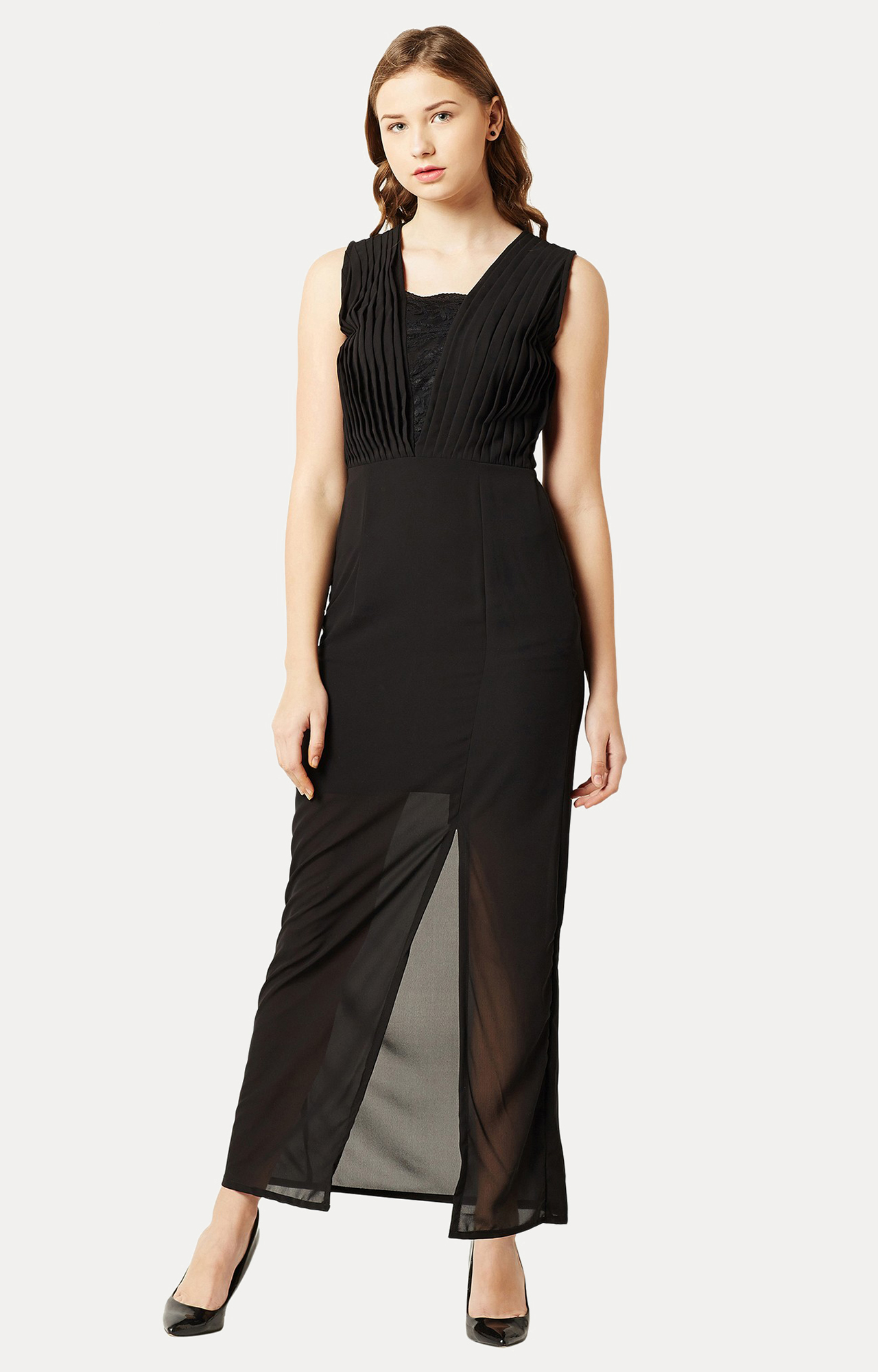 MISS CHASE | Black Solid Lace Maxi Dress