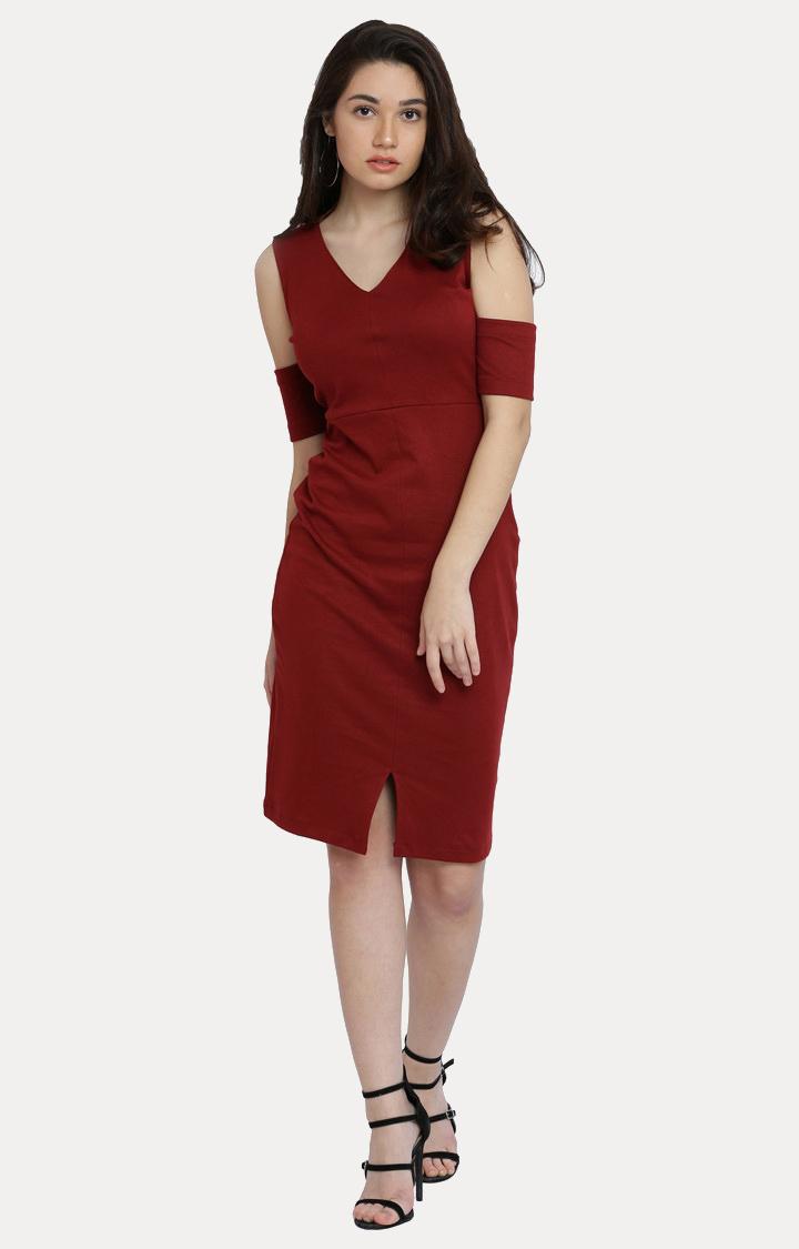 MISS CHASE | Maroon Solid V Neck Knee Long Cold Shoulder Dress