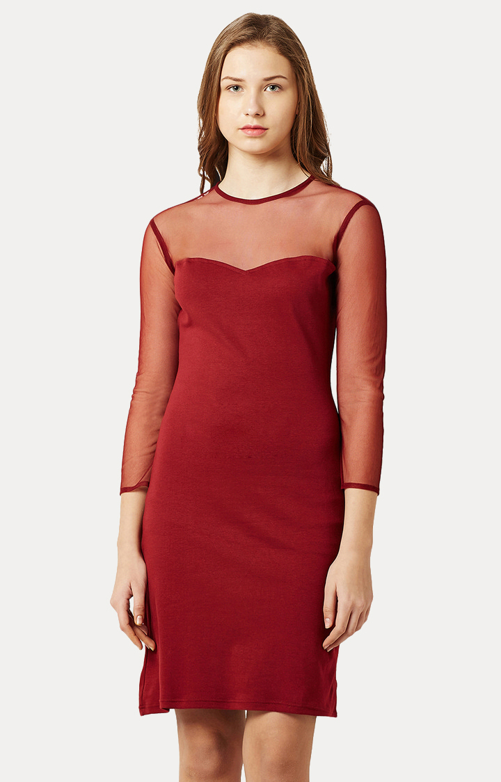 MISS CHASE   Maroon Round Neck Solid Shift Dress