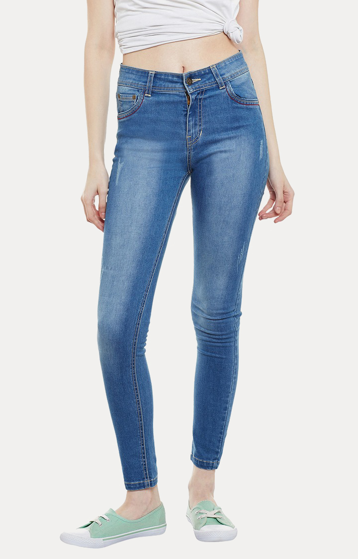 MISS CHASE | Blue Washed Straight Jeans
