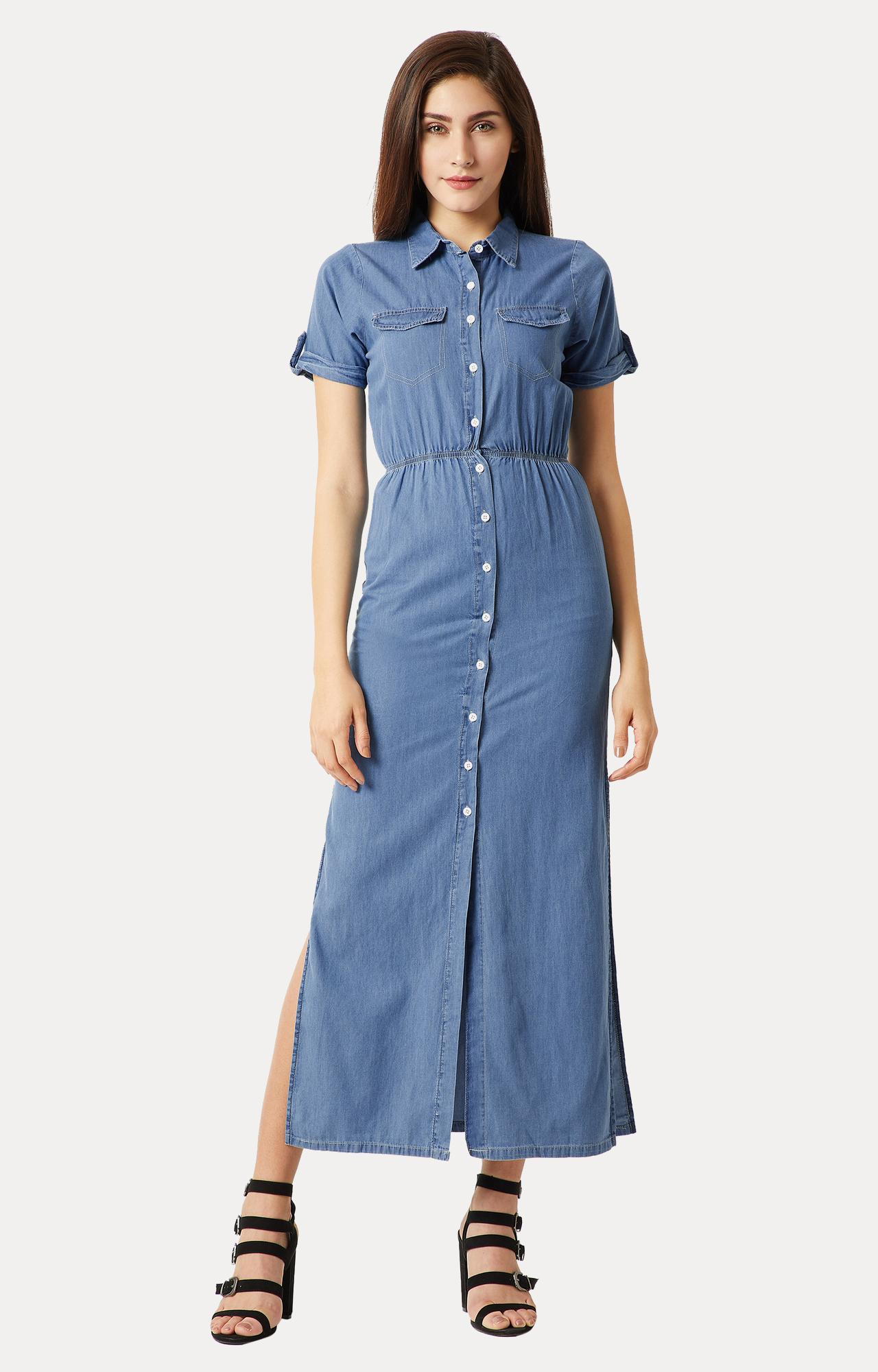 MISS CHASE | Blue Collared Solid Denim Maxi Dress
