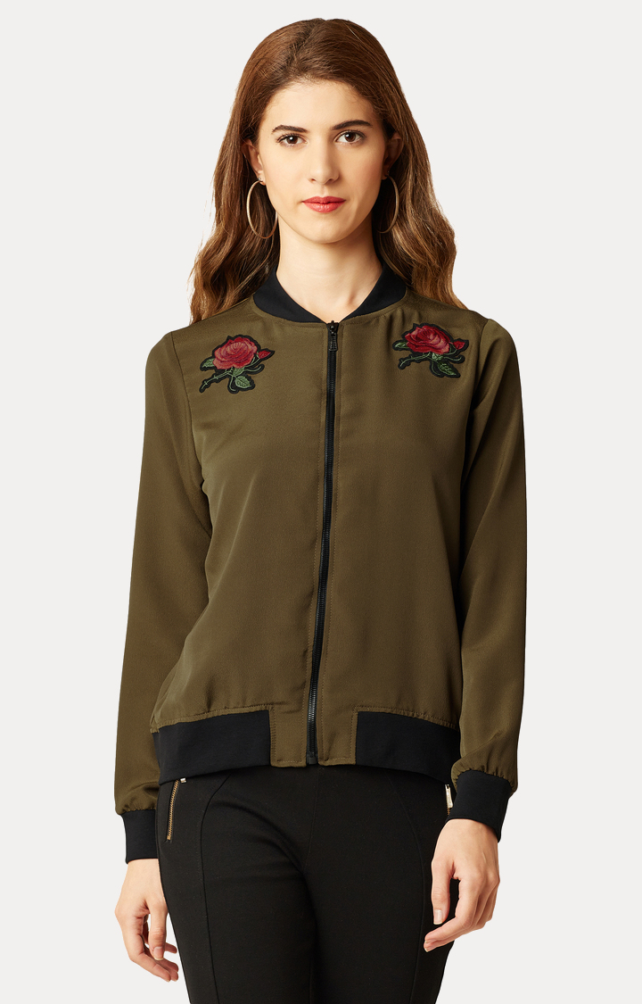 MISS CHASE   Olive Solid Embroidered Bomber Jacket