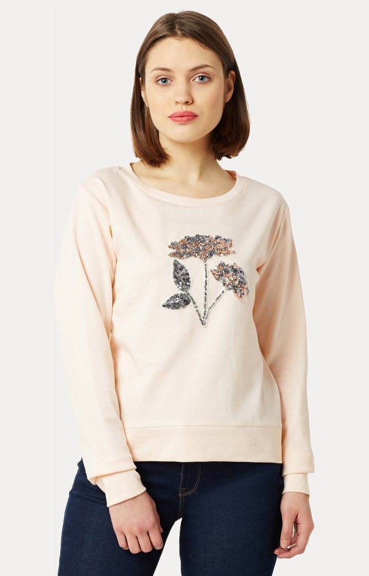MISS CHASE   Peach Round Neck Solid Floral Sequined Patch Boxy Sweatshirt
