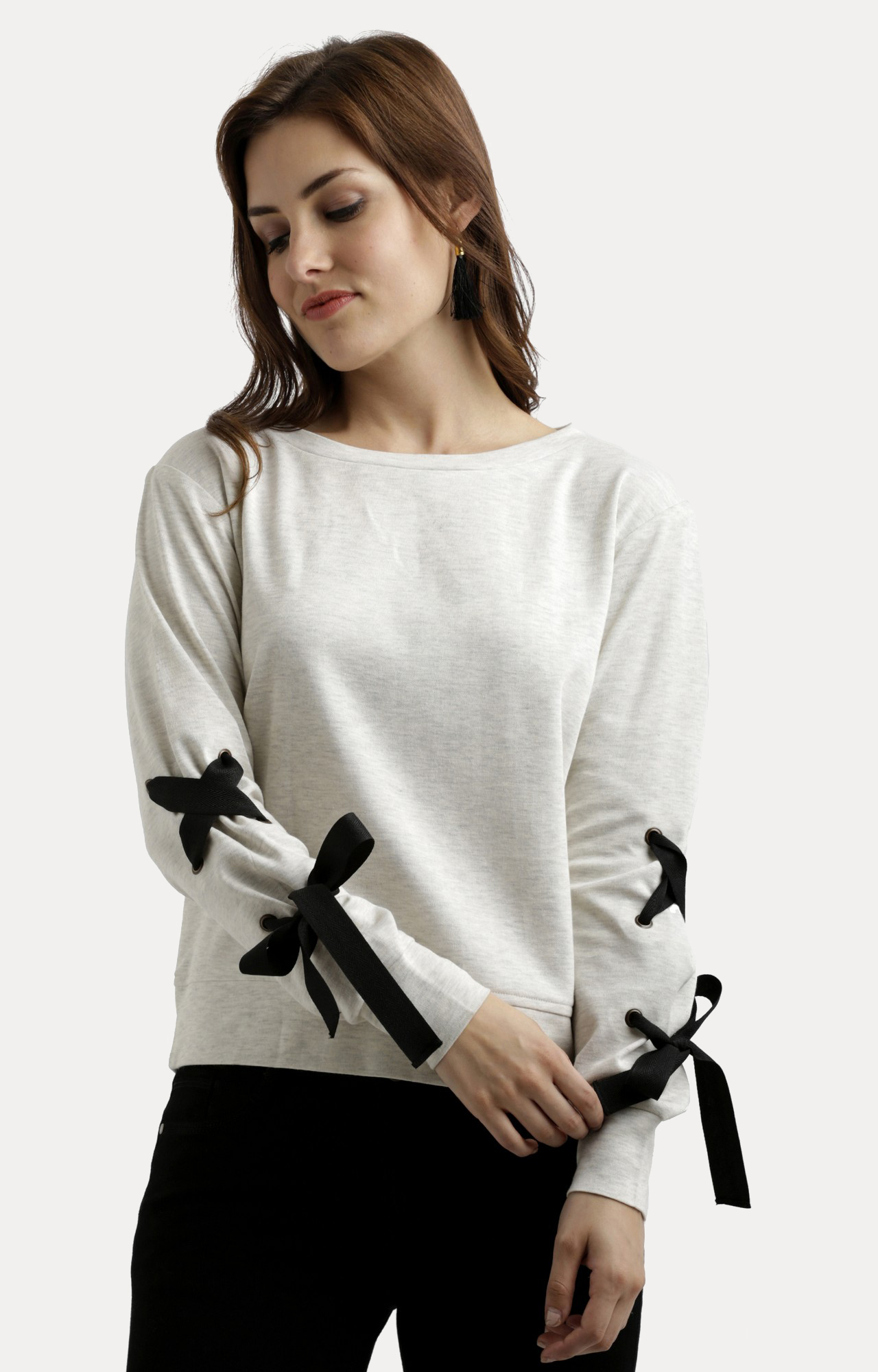 MISS CHASE | Off White Solid Criss Cross Detailing Sweatshirt