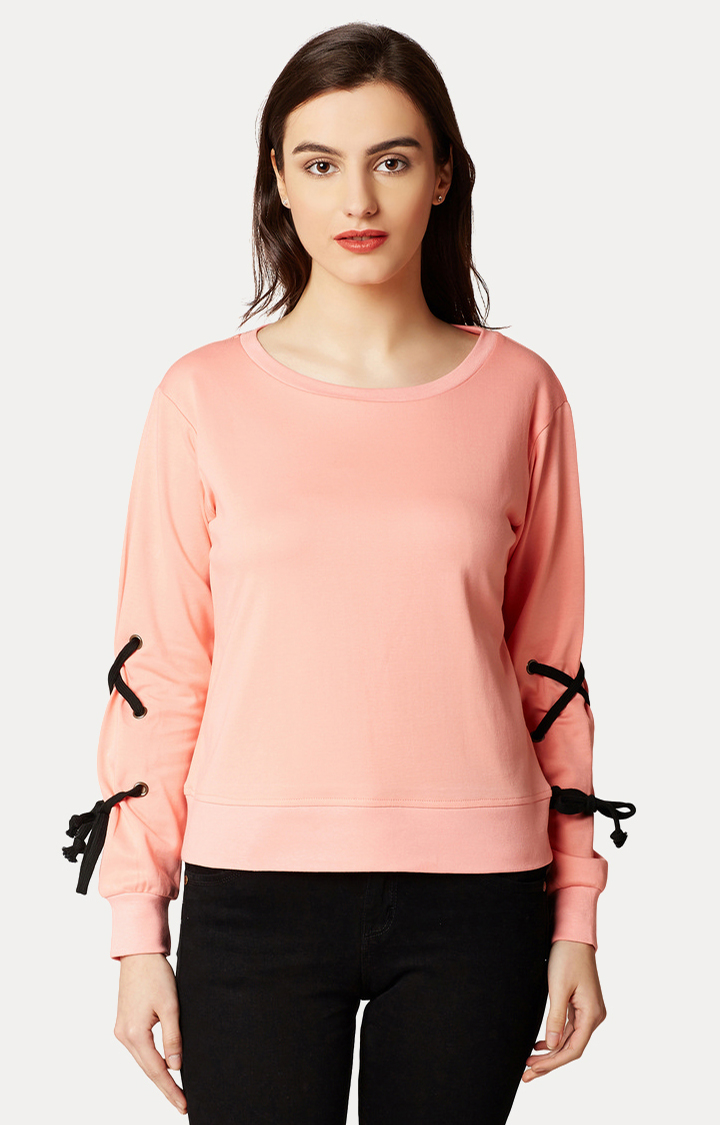 MISS CHASE   Pink Round Neck Solid Criss Cross Detailing Sweatshirt