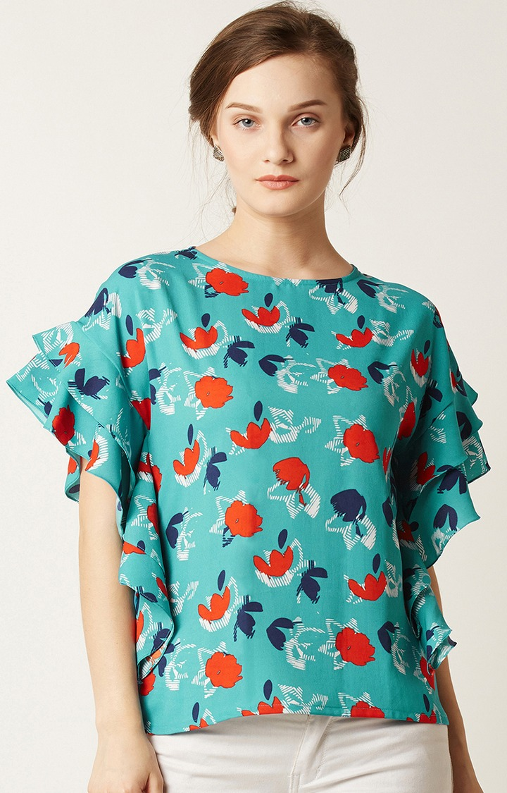 MISS CHASE | Blue Printed Ruffled Top