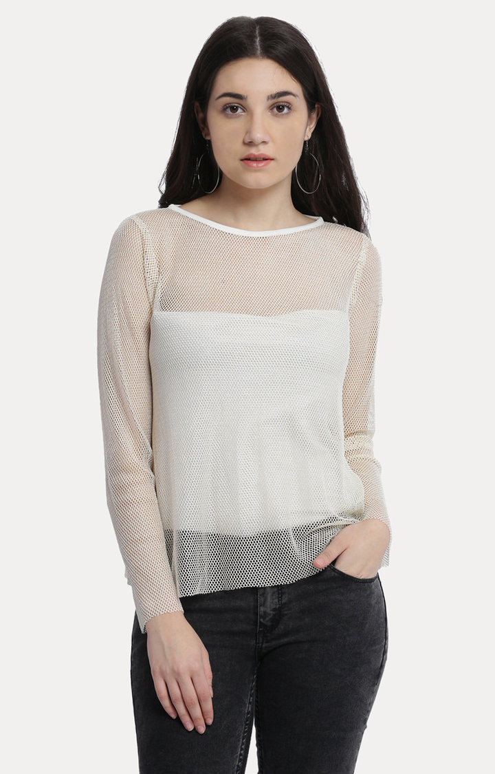 MISS CHASE | Off White Boat Neck Solid Net Boxy Top