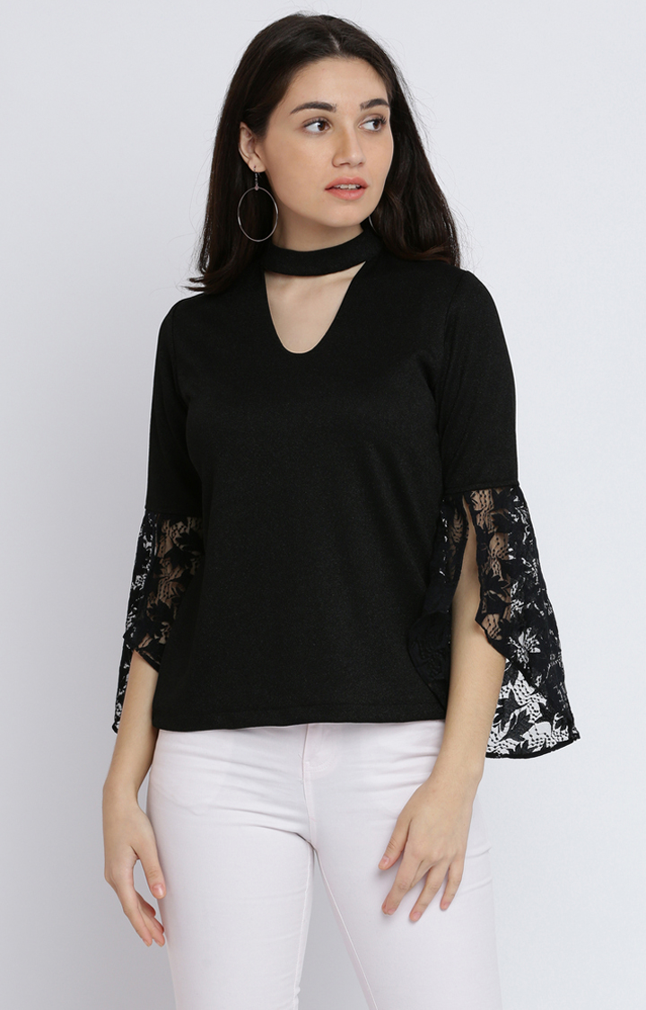 MISS CHASE   Black Solid Top