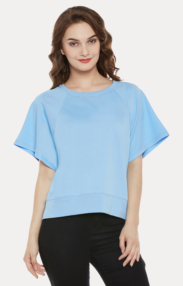 MISS CHASE   Blue Solid Top