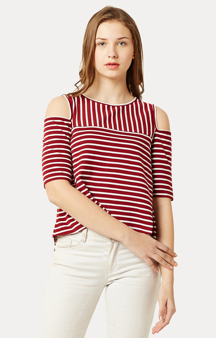 MISS CHASE   Maroon and White Round Neck Striped Cold Shoulder Top