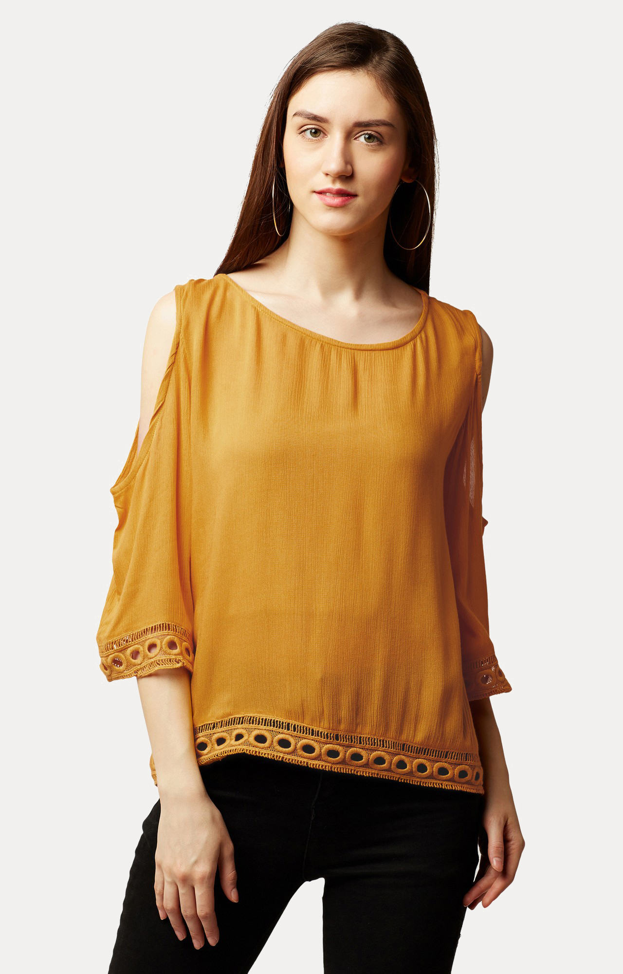 MISS CHASE   Mustard Solid Lace Cold Shoulder Top