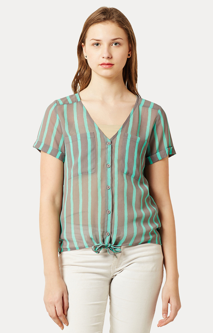 MISS CHASE   Mint and Grey V Neck Buttoned Striped Tie-Up Top
