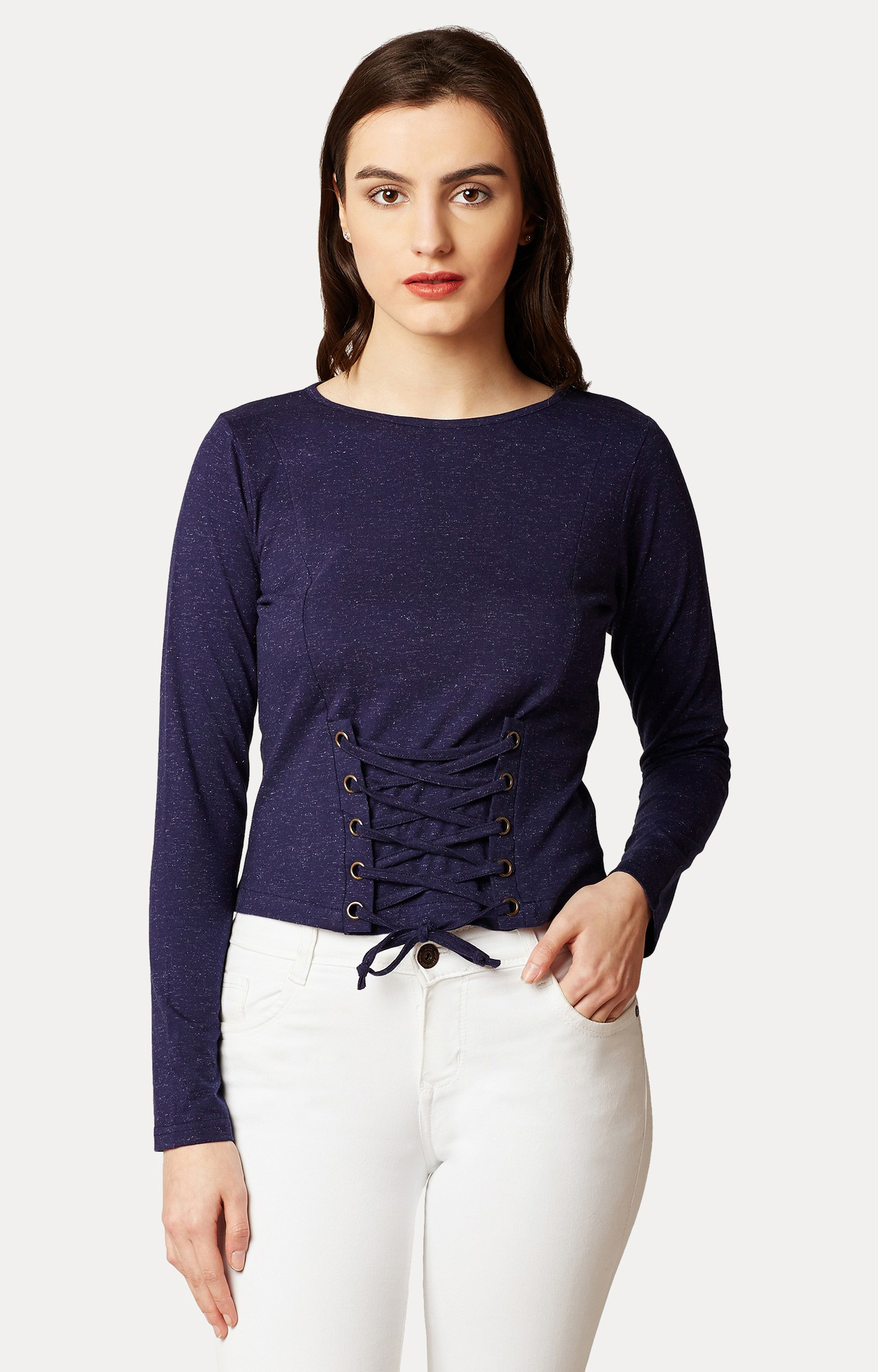 MISS CHASE | Navy Blue Paneled Criss Cross Tie-up Top