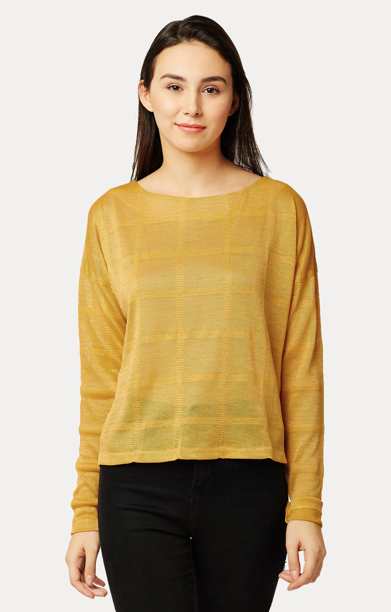MISS CHASE | Yellow Solid Panelled Drop Shoulder Top