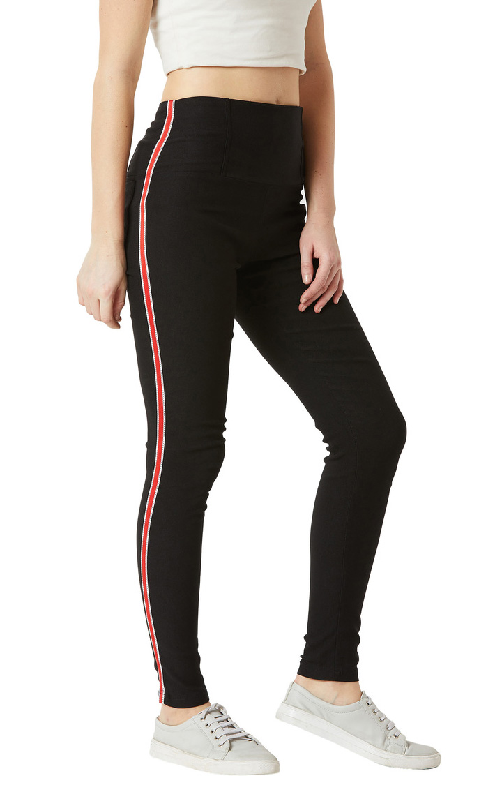 MISS CHASE | Black High Waist Solid Twill Tape Detailing Jeggings