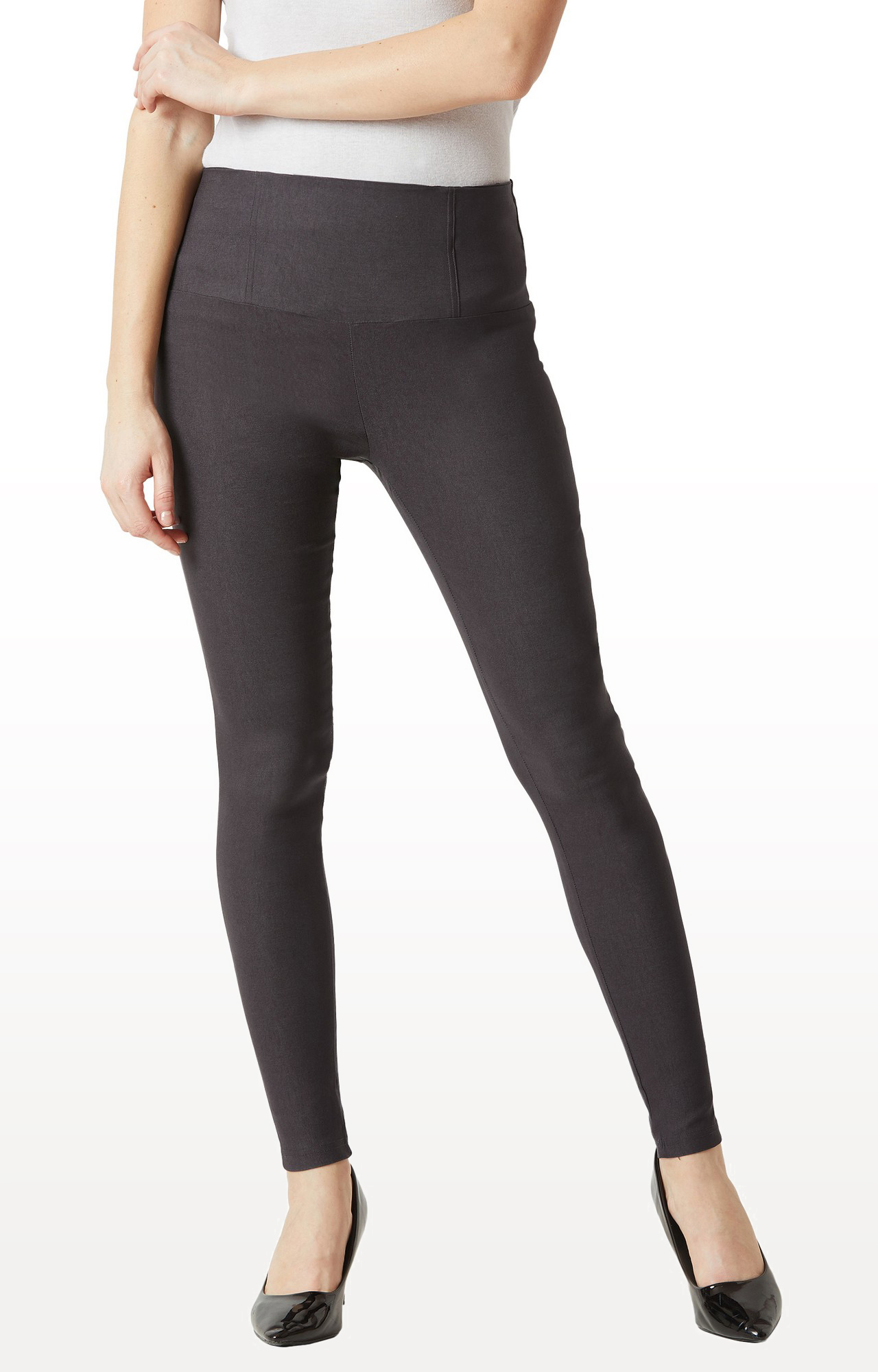 MISS CHASE | Dark Grey Solid High Waist Regular Length Patch Pocket Jeggings