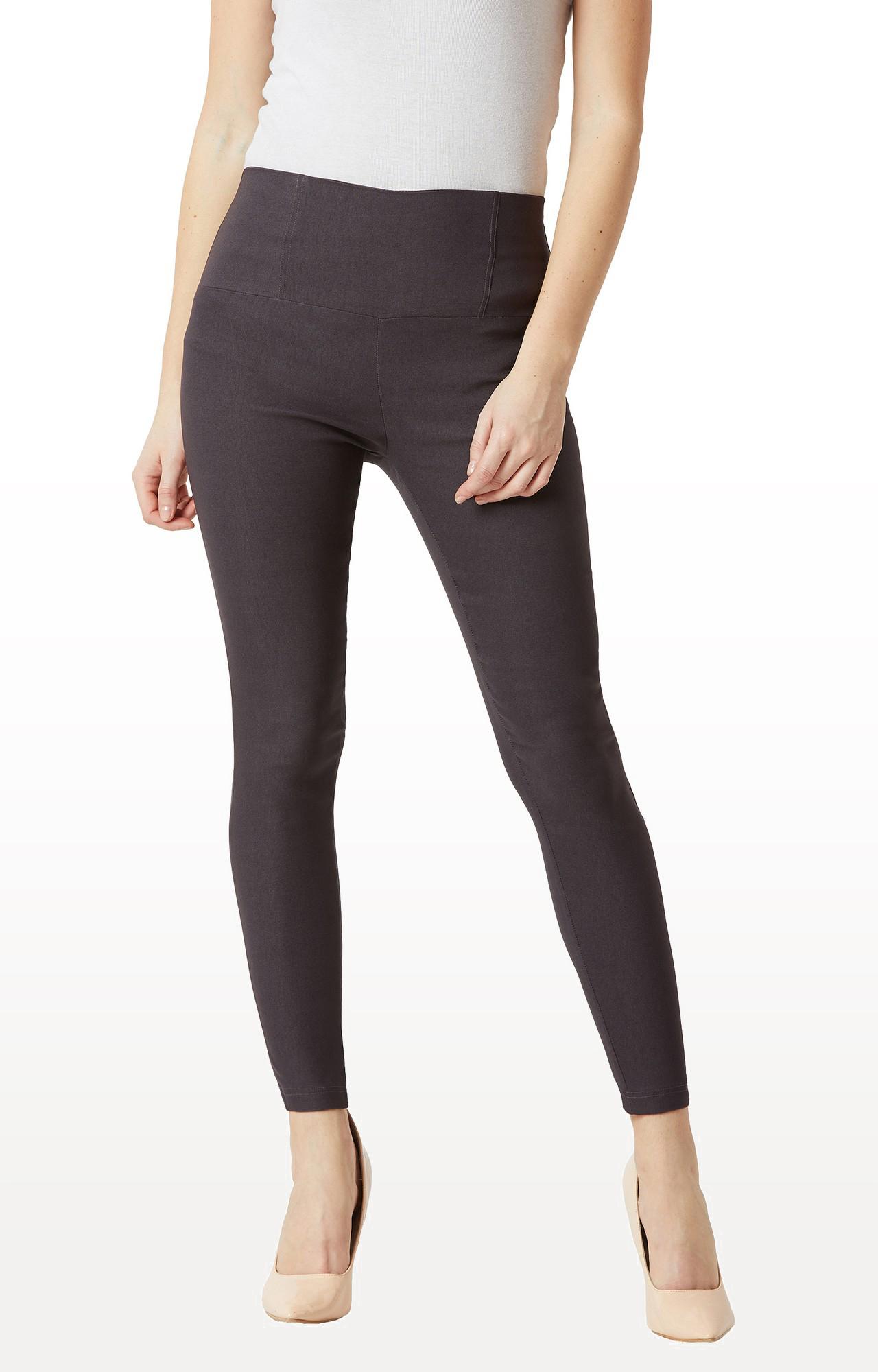 MISS CHASE | Dark Grey Solid High Waist Patch Pocket Regular Length Jeggings