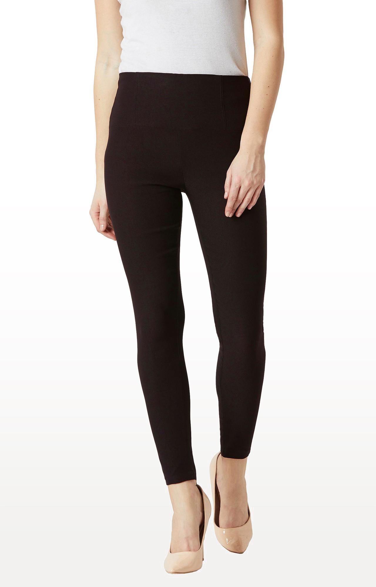 MISS CHASE   Black Solid High Waist Patch Pocket Regular Length Jeggings