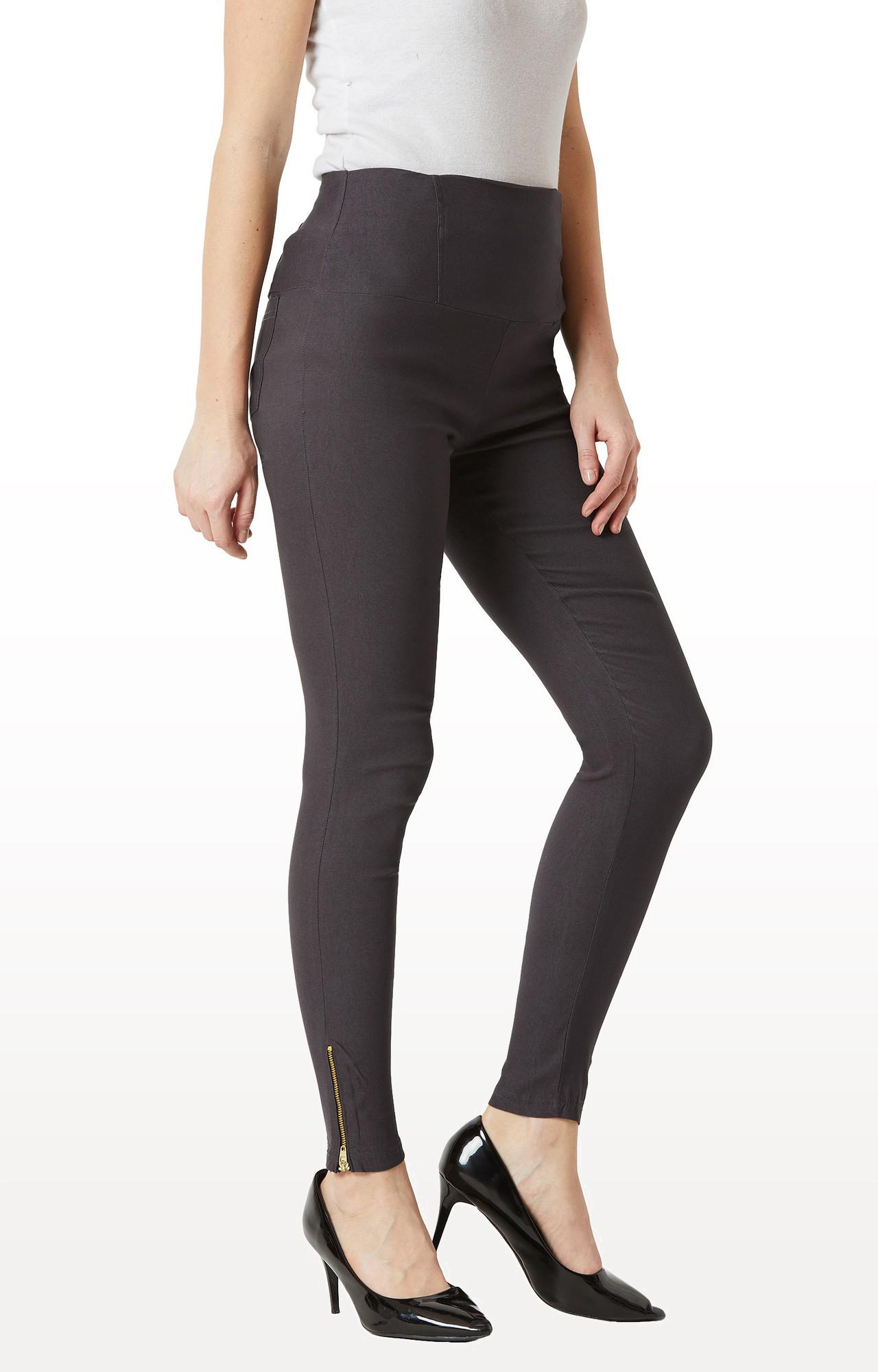 MISS CHASE | Dark Grey Solid High Waist Patch Pocket Zipper Detailing Regular Length Jeggings