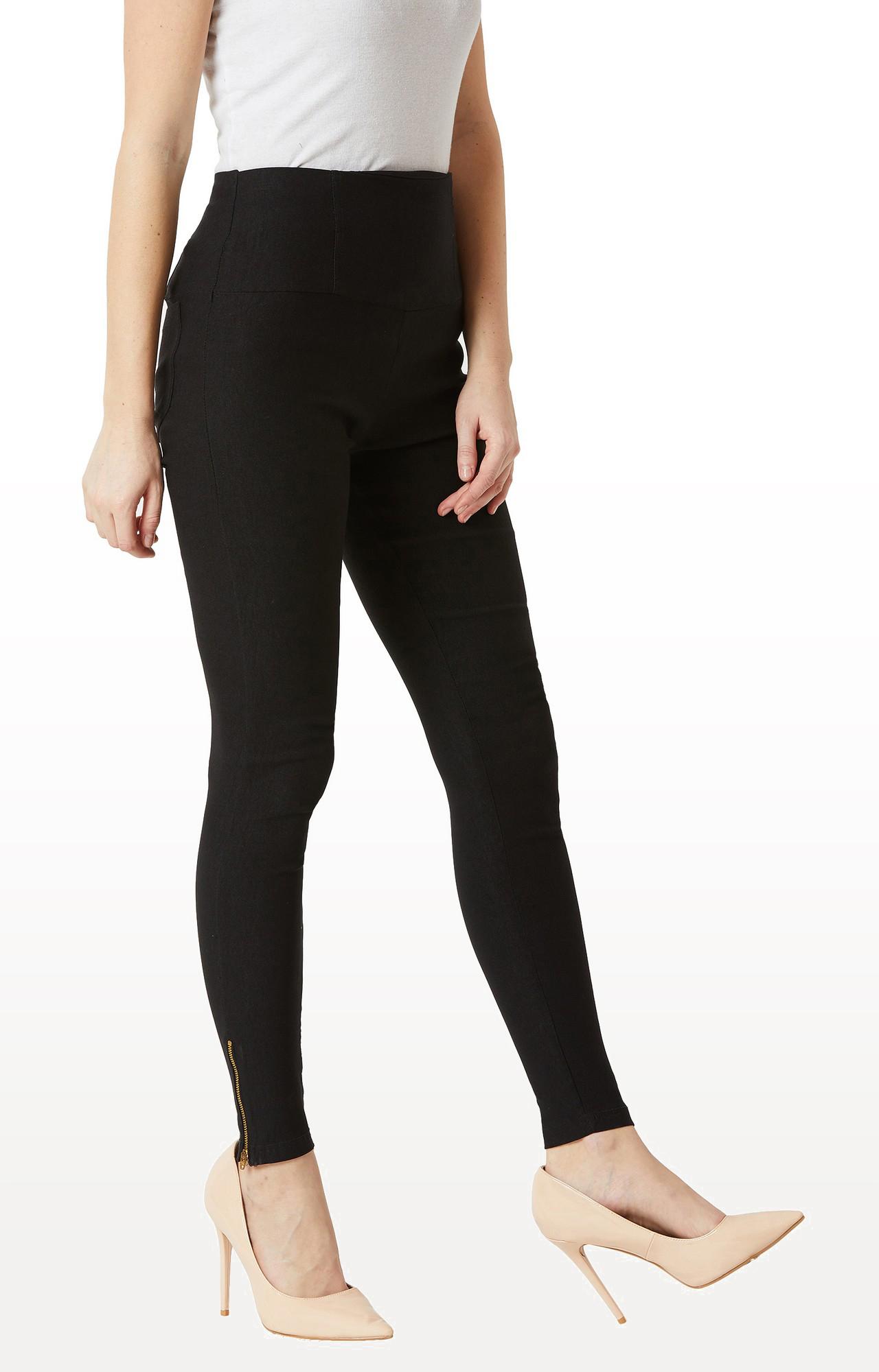MISS CHASE   Black Solid High Waist Patch Pocket Zipper Detailing Regular Length Jeggings