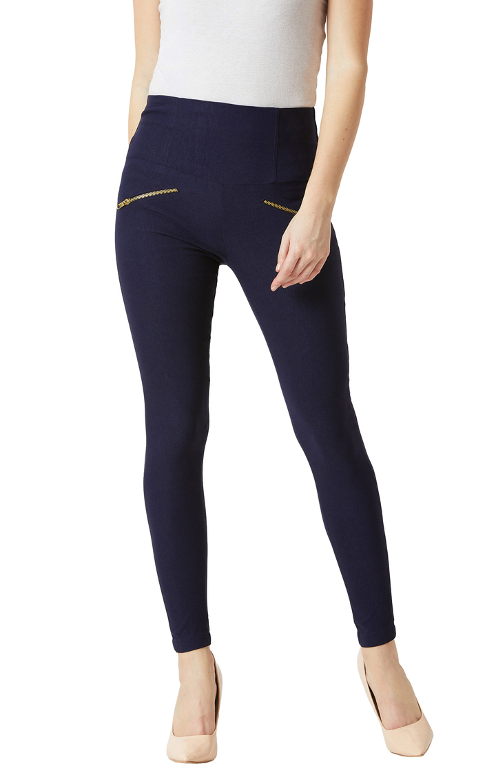 MISS CHASE | Navy Solid High Waist Zipper Detailing Jeggings