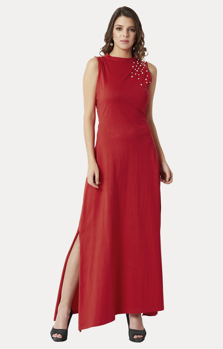 MISS CHASE | Red Low Back Pearl Detailing Maxi Dress