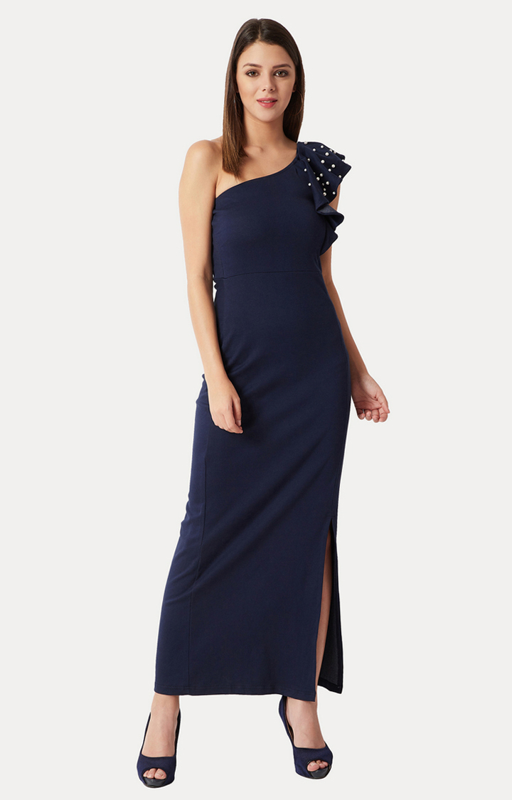 MISS CHASE | Navy Blue Solid Pearl and Slit Detailing Maxi Dress