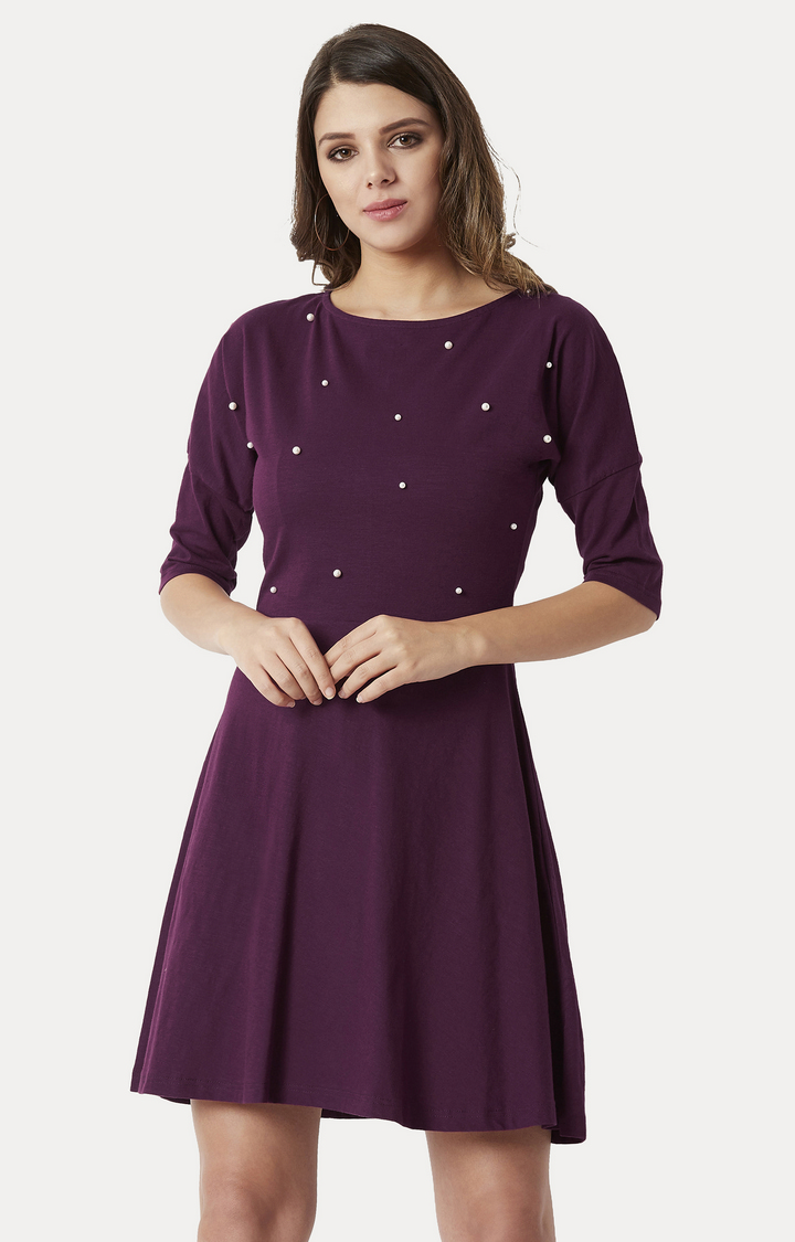 MISS CHASE   Purple Solid Pearl Detailing Mini Skater Dress