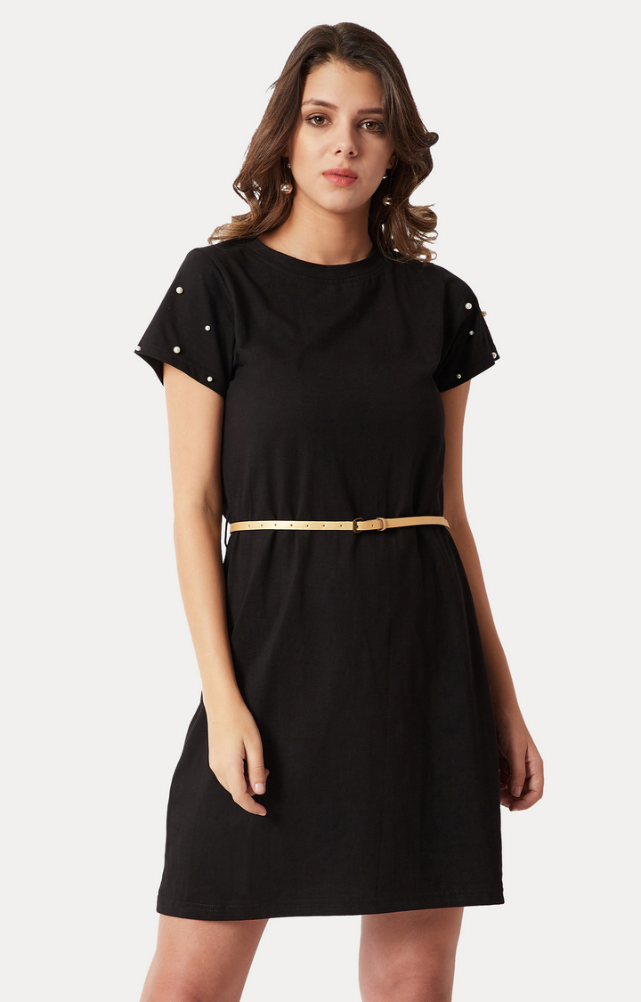 MISS CHASE | Black Solid Pearl Detailing Belted Shift Dress