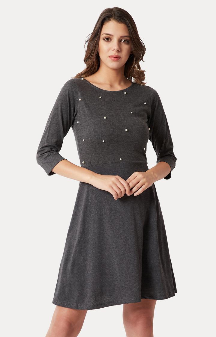MISS CHASE | Grey Solid Embellished Mini Skater Dress