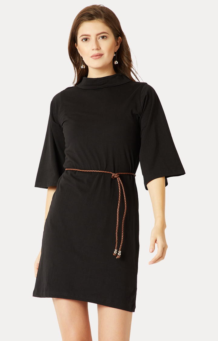 MISS CHASE | Black High Flared Solid Belted Shift Dress