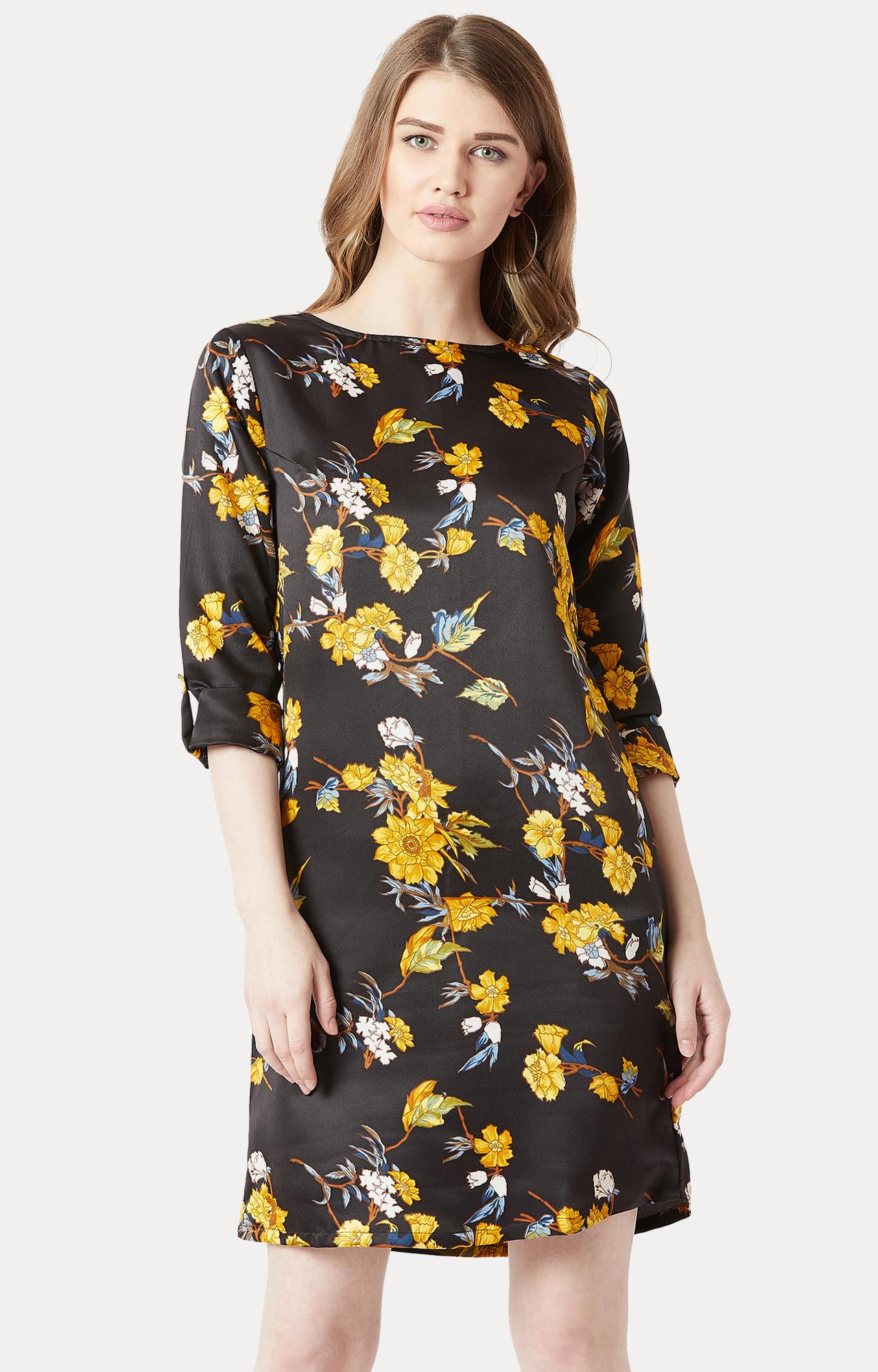 MISS CHASE | Black Floral Shift Dress