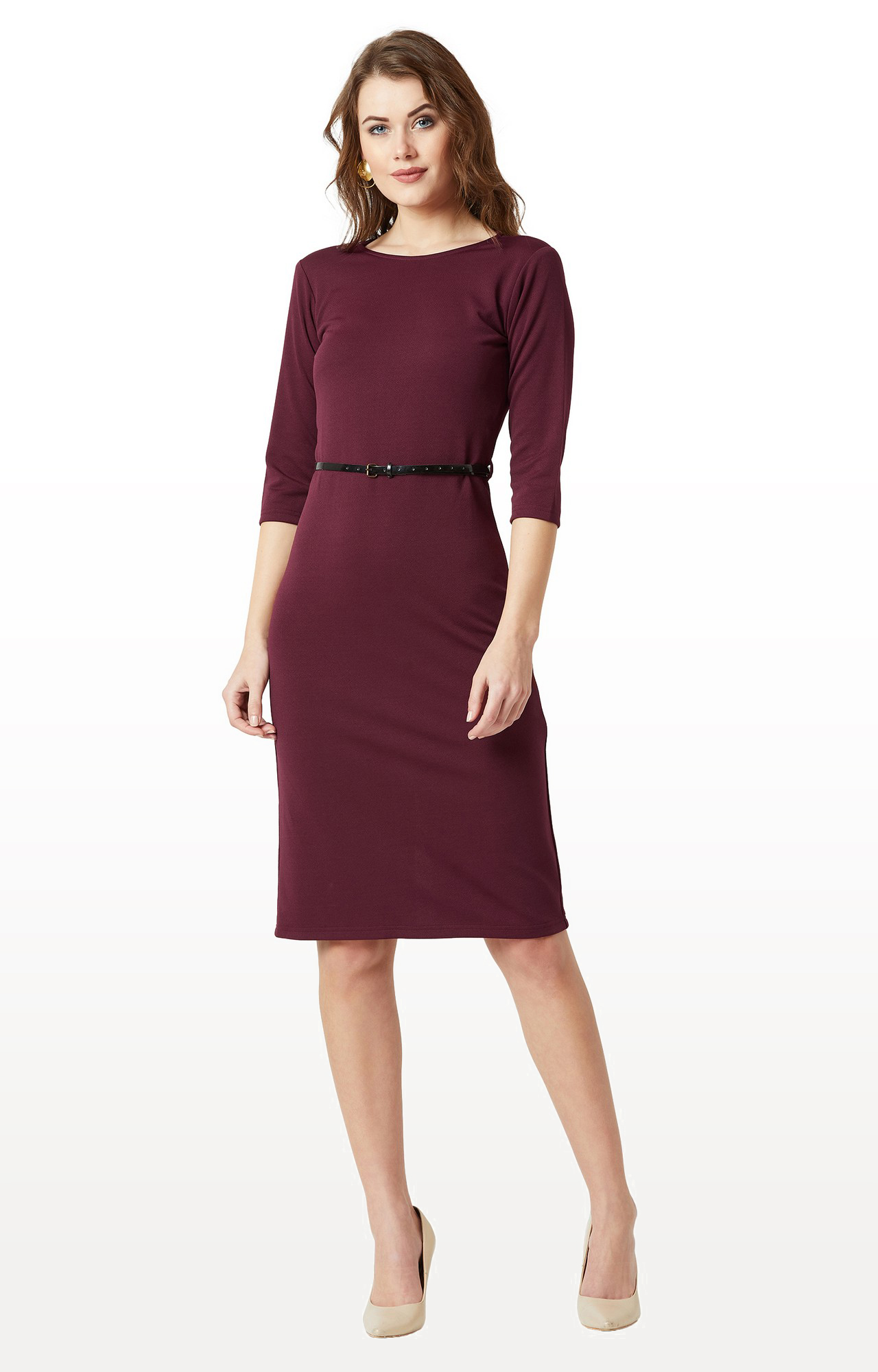 MISS CHASE | Wine Solid Belted Bodycon Midi Dress