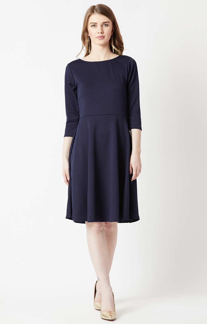 MISS CHASE   Navy Solid Skater Dress