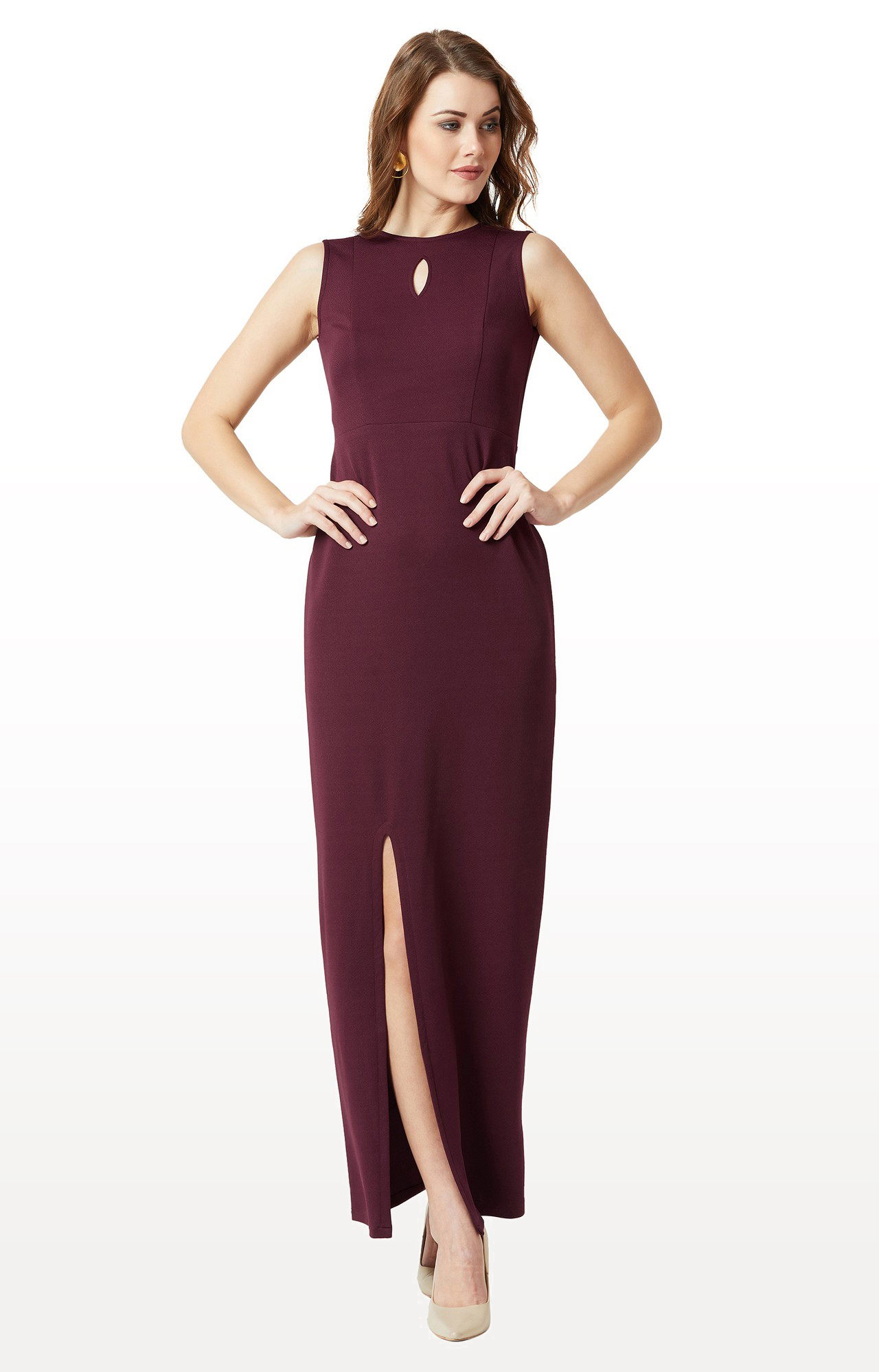 MISS CHASE | Wine Solid Bodycon Slit Detailing Maxi Dress