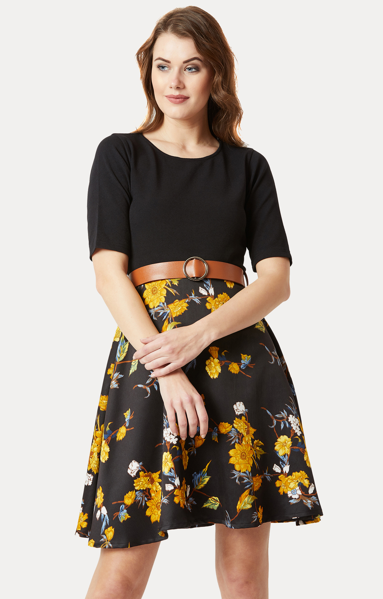 MISS CHASE | Black Floral Skater Dress