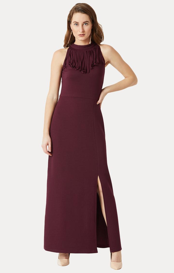 MISS CHASE | Wine Solid Fringed Halter Neck Front Slit Maxi Dress