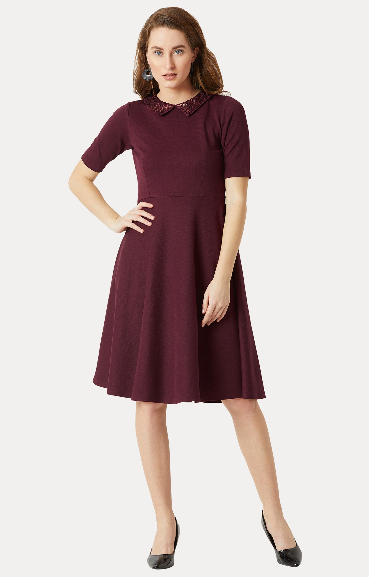 MISS CHASE | Wine Red Solid Skater Dress