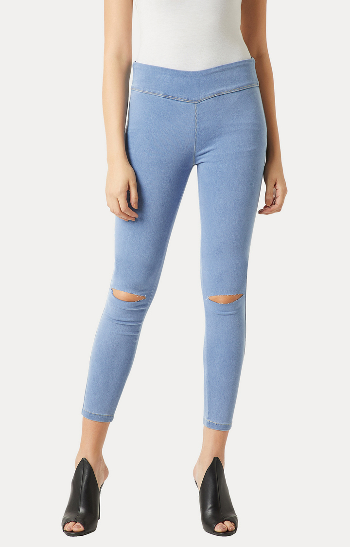 MISS CHASE | Blue Clean Look Knee Slit Stretchable Jeggings