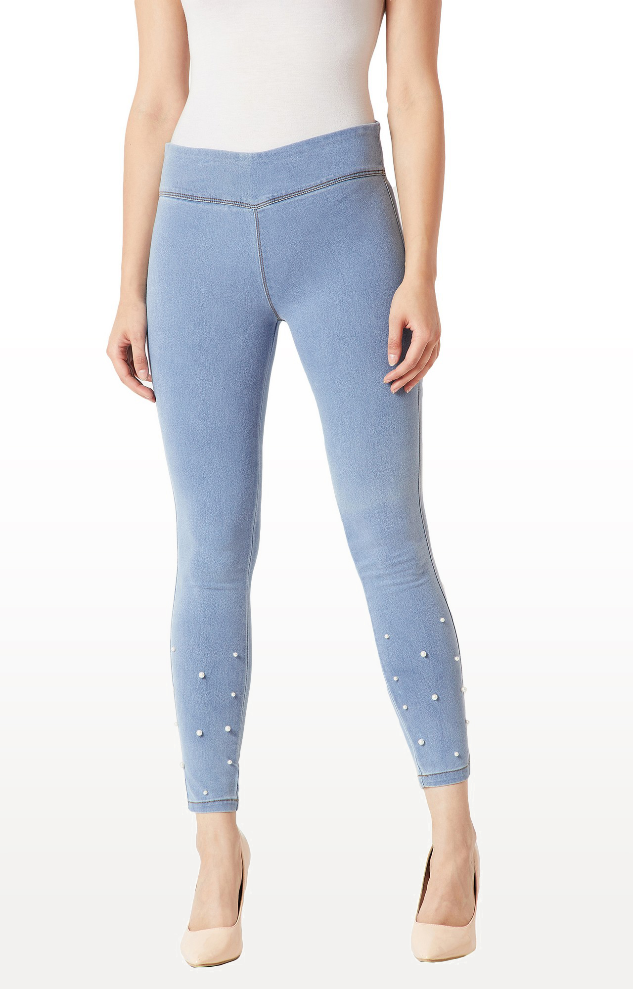 MISS CHASE | Light Blue Solid High Rise Clean Look Embellished Stretchable Denim Jeggings