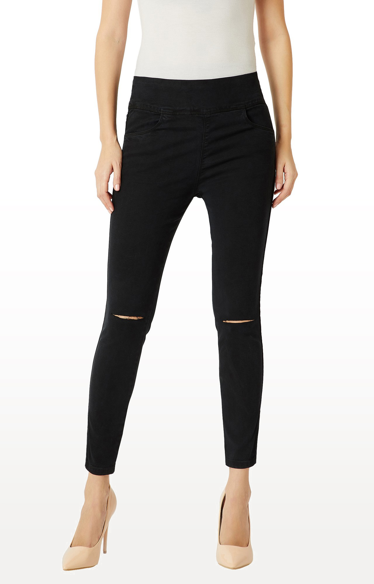 MISS CHASE | Black Solid High Rise Ankle Length Knee Slit Clean Look Denim Stretchable Jeggings