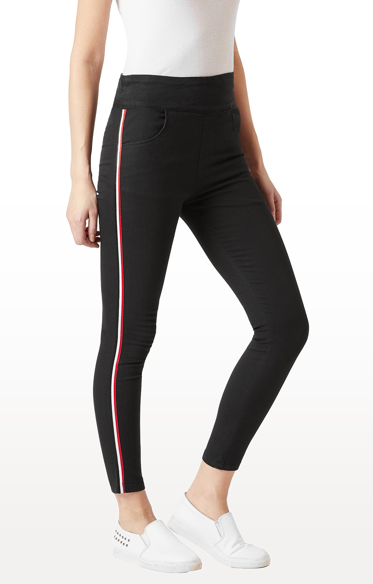 MISS CHASE | Black Solid High Rise Ankle Length Twill Tape Detailing Clean Look Denim Stretchable Jeggings