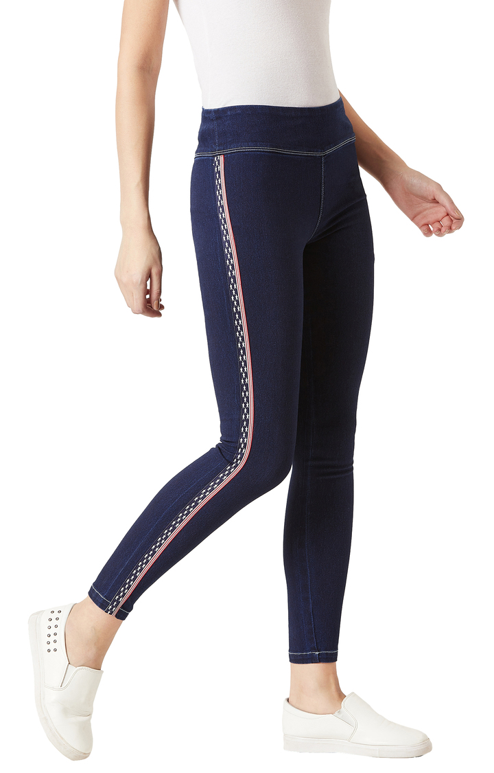 MISS CHASE | Navy Solid High Rise Twill Tape Detailing Stretchable Jeggings